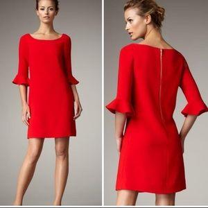 Kate Spade Luna Ruffle Sleeve Shift Dress Red